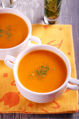 Vegetable soup orange color