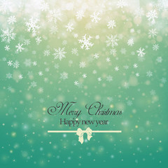Christmas winter abstract background with snowflakes, bokeh lights and congratulations. Place for text. Christmas New Year's wallpaper