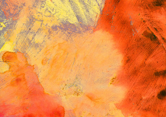 Orange artistic abstract painted texture, grunge painting, decorative yellow painting, random brush strokes