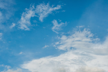 Blue sky with white cloud for background.