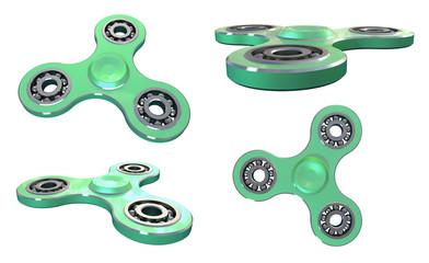 Set fidget spinner stress relieving toy gold on white backgrond. 3d illustration.