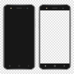 Fototapeta Realistic smartphones with blank screen and transparent screen isolated on transparent background obraz