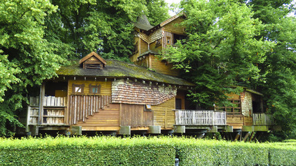 Alnwick wooden Treehouse, Alnwick Garden,  in the English county of Northumberland, UK