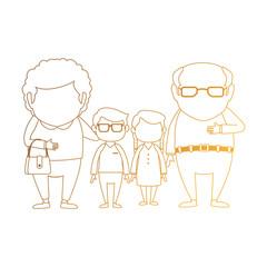 couple of grandparents with grandchildren avatars characters vector illustration design