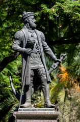 Statue of Vasco da Gama, presented to Evora by the South African province of Natal in 1997, on the 500th anniversary of his discovery of Natal on Christmas day 1497.