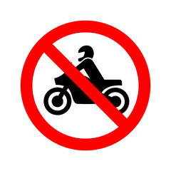 No motorcycle forbidden sign on white