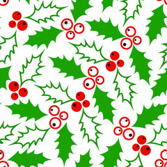 Seamless Christmas pattern with green leaves with red berries.