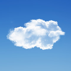 Single cloud isolated over solid background 3D illustration, single cloud shape rendering