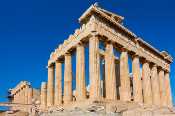 Ruins of Parthenon temple in Acropolis