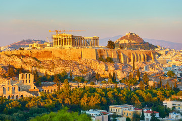 The Acropolis and panoramic view of Athens city in Greece in the evening