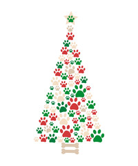 Christmas tree made of bone and paw prints. New year greeting card