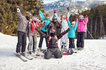 Friends On Skiing Resort