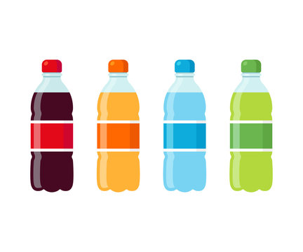 Soda bottles icon set