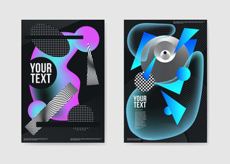 Abstract Dark Futuristic Trendy Posters. Fluid Geometric Shapes Brochure Template. Banner Identity Card Design. Vector illustration