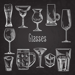 Set of Different Drink Glasses. Stemware Hand Drawn Doodle on Chalkboard. Vector illustration