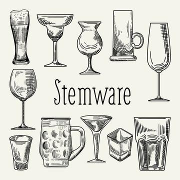Set of Different Drink Beverage Glasses. Stemware Hand Drawn Doodle on Chalkboard. Vector illustration