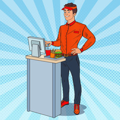 Pop Art Cashier Takes the Order. Fast Food Restaurant Worker. Vector illustration