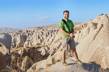 A man travels in Cappadocia in Turkey