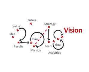 Vision 2018 red marks white background vector