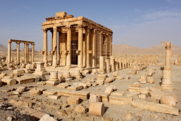 Ruins of the temple of Baal-Shamin in the ancient Semitic city of Palmyra on syrian desert (shortly before the war)