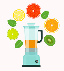 Exotic fruits smoothie juice. Food processor, mixer, blender and fruits. Flat style vector illustration.