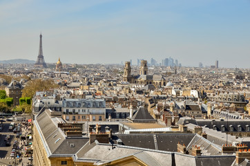 Panorama of Paris from the observation deck of the Pantheon with the Eiffel tower and Notre Dame.