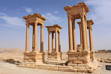 The Tetrapylon. Ruins of the ancient city of Palmyra on syrian desert (shortly before the war, 2011)