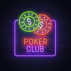 Poker neon sign. Neon sign. Casino logo, emblem and label. Bright signboard, light banner.