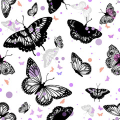 Seamless vector pattern of hand drawn sketch style butterflies.