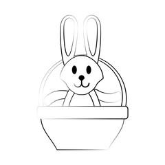 Bunny on basket icon vector illustration graphic design