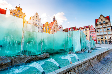 Fototapete - Fantastic view of the ancient homes on a sunny day. Location famous Market Square in Wroclaw, Poland, Europe. Historical capital of Silesia. Beauty world.