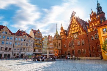 Fantastic view of the ancient city hall Wroclaw (Ratusz Wrocławski). Picturesque scene. Location famous Market Square, Poland, Europe. Historical capital of Silesia. Beauty world.