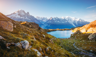 Views of the Mont Blanc glacier with Lac Blanc (White Lake).