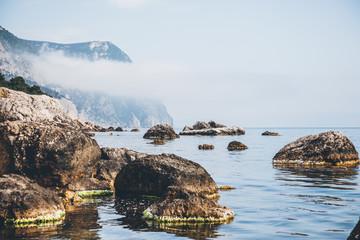 Blue sea in the morning light. Location place Black Sea, Crimea, Ukraine.