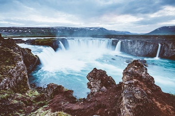 Great view of powerful Godafoss cascade. Location Iceland, Europe.