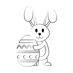 Bunny with easter egg icon vector illustration graphic design