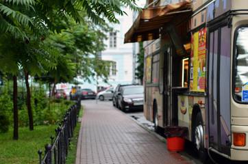 bus of street food blur background