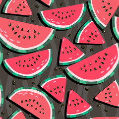 Juicy watermelons - trendy seamless pattern on a dark background — Vector by var-chun