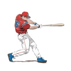 Baseball player in red jersey, isolated vector illustration