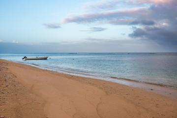 Boat anchored on a beach, Tonga