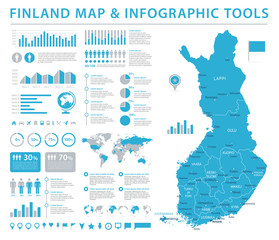 Finland Map - Detailed Info Graphic Vector Illustration