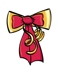 Gold and Candy Apple Red Decorative Bow