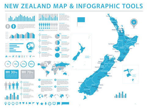 New Zealand Map - Info Graphic Vector Illustration