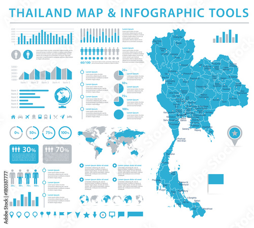 Thailand Map - Info Graphic Vector Illustration\