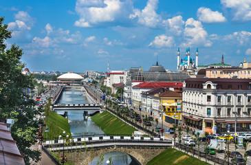 KAZAN, RUSSIA - JUNE 10, 2016: Kazan city scape, Tatarstan Republic, Russia. Shot taken from the rooftop of Kazan city.