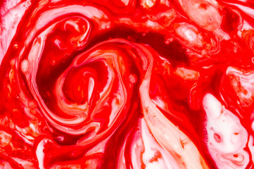 Abstract of color reaction between milk and color - red