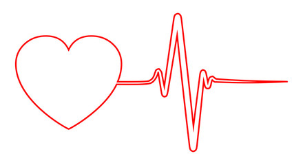 Heart and pulse, one line - vector for stock