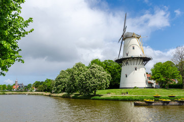 Windmill in the park city of Middelburg, Netherlands (Holland)