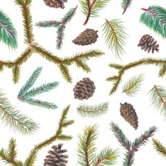 Pastel background pattern with spruce branches