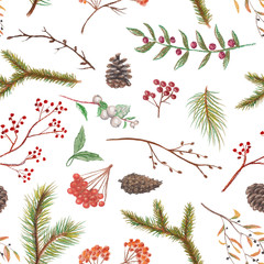 Pastel background pattern with cones, twigs and berries